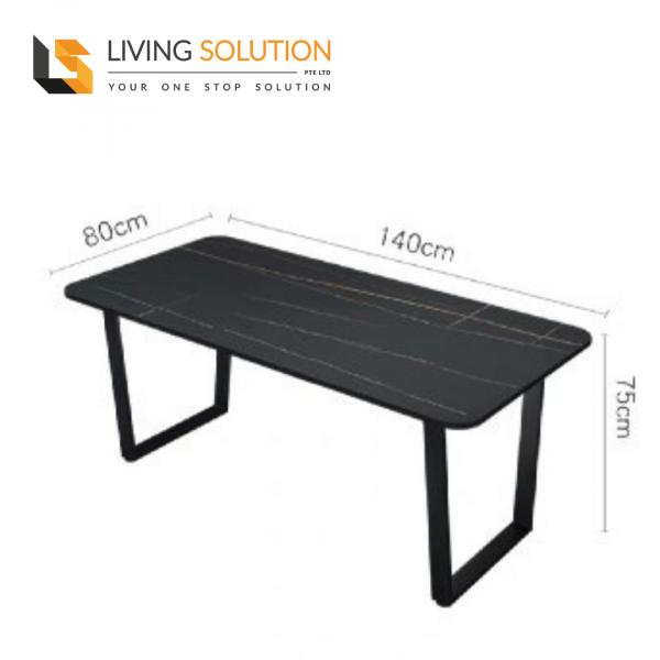 140cm Sintered Stone Dining Table Black