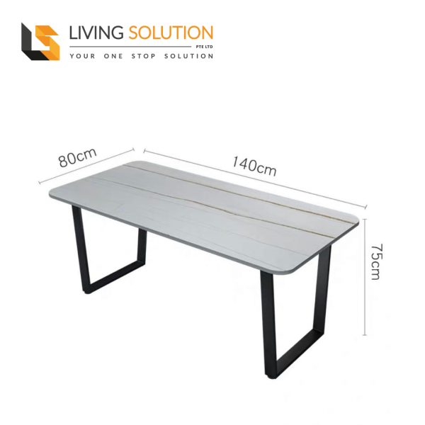 140cm Sintered Stone Dining Table White