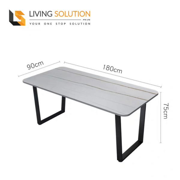 180cm Sintered Stone Dining Table White