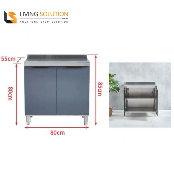 80cm Tempered Glass Door Stainless Steel Kitchen Cabinet