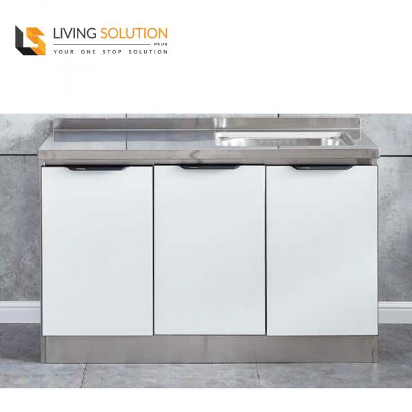 120cm White Tempered Glass Door Stainless Steel Kitchen Cabinet Single Sink