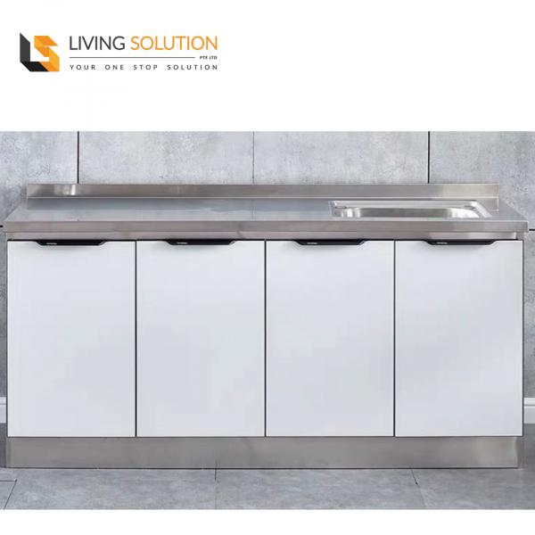 160cm White Tempered Glass Door Stainless Steel Kitchen Cabinet Single Sink