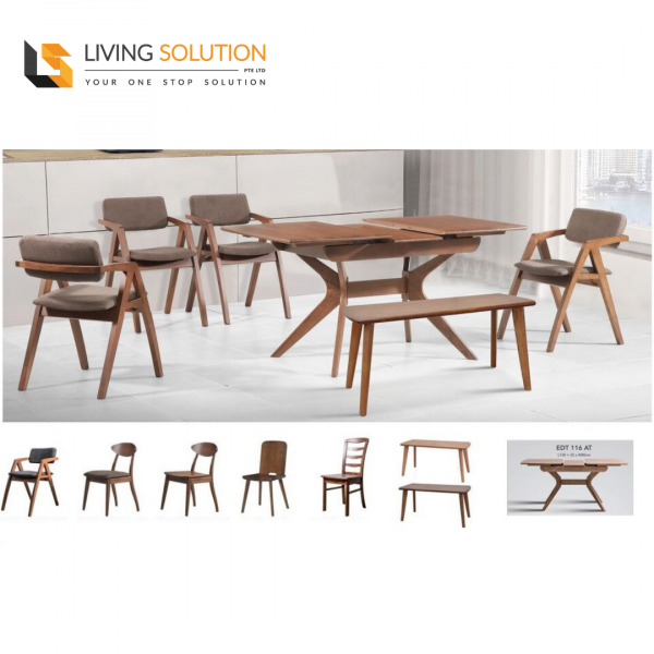 Elm Solid Rubber Wood Dining Table