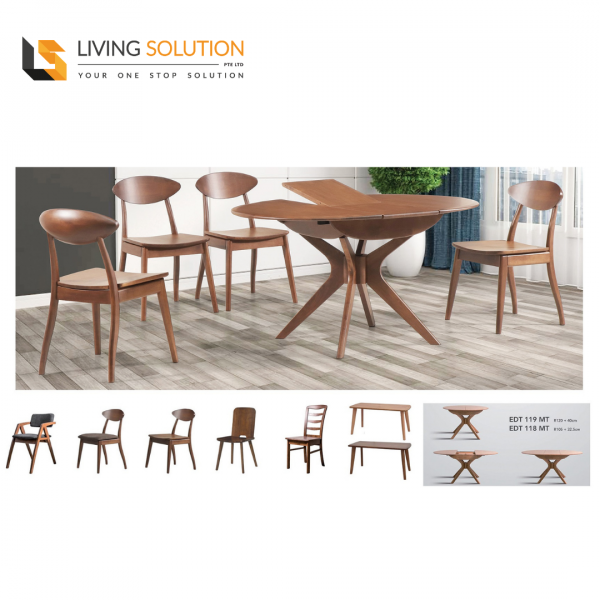 Jube Solid Rubber Wood Extension Dining Table