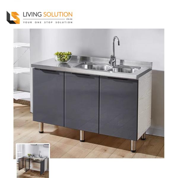 120cm Grey Glass Wooden Kitchen Cabinet Double Sink