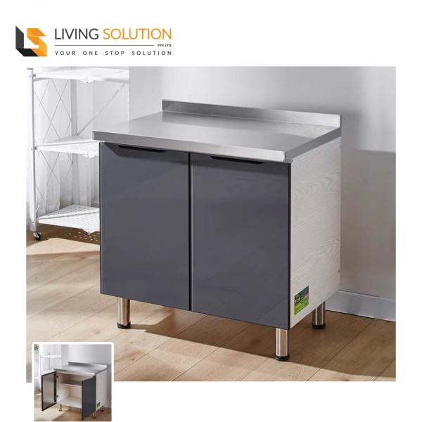 80cm Grey Glass Wooden Kitchen Cabinet