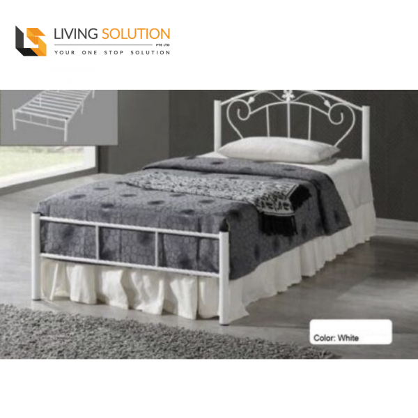 Contemporary Single Metal Bed Frame White