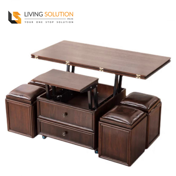 Attic Multi Functional Solid Wood Coffee Table