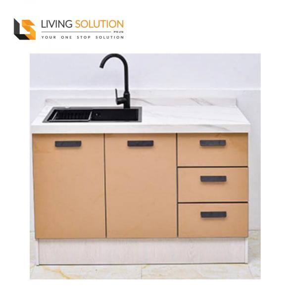 Sintered Stone Top Acrylic Door Wooden Structure Kitchen Cabinet